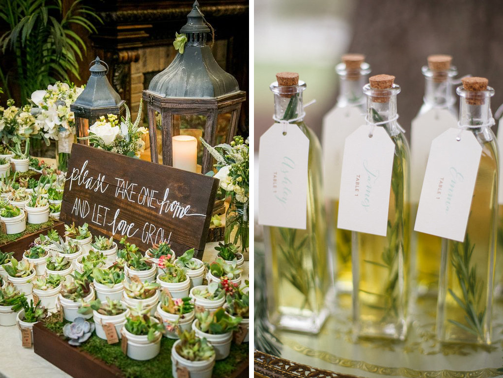 Mini plants are great as spring wedding favours as are small bottles of infused oils for your Sandhole Oak Barn wedding