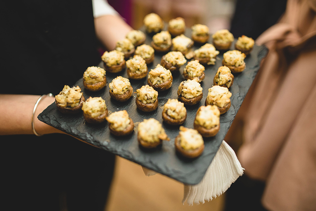 Mouth-watering canapes were served to wedding guests at this barn wedding in Cheshire