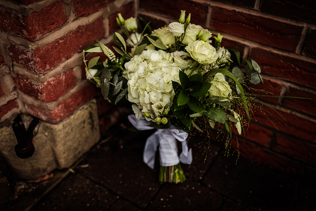 White roses and hyacinth are the perfect wedding flowers for a spring wedding at Sandhole Oak Barn in Cheshire