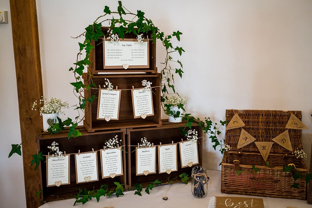 Rustic crates were used to display the table plan at this spring wedding at Sandhole Barn near Staffordshire